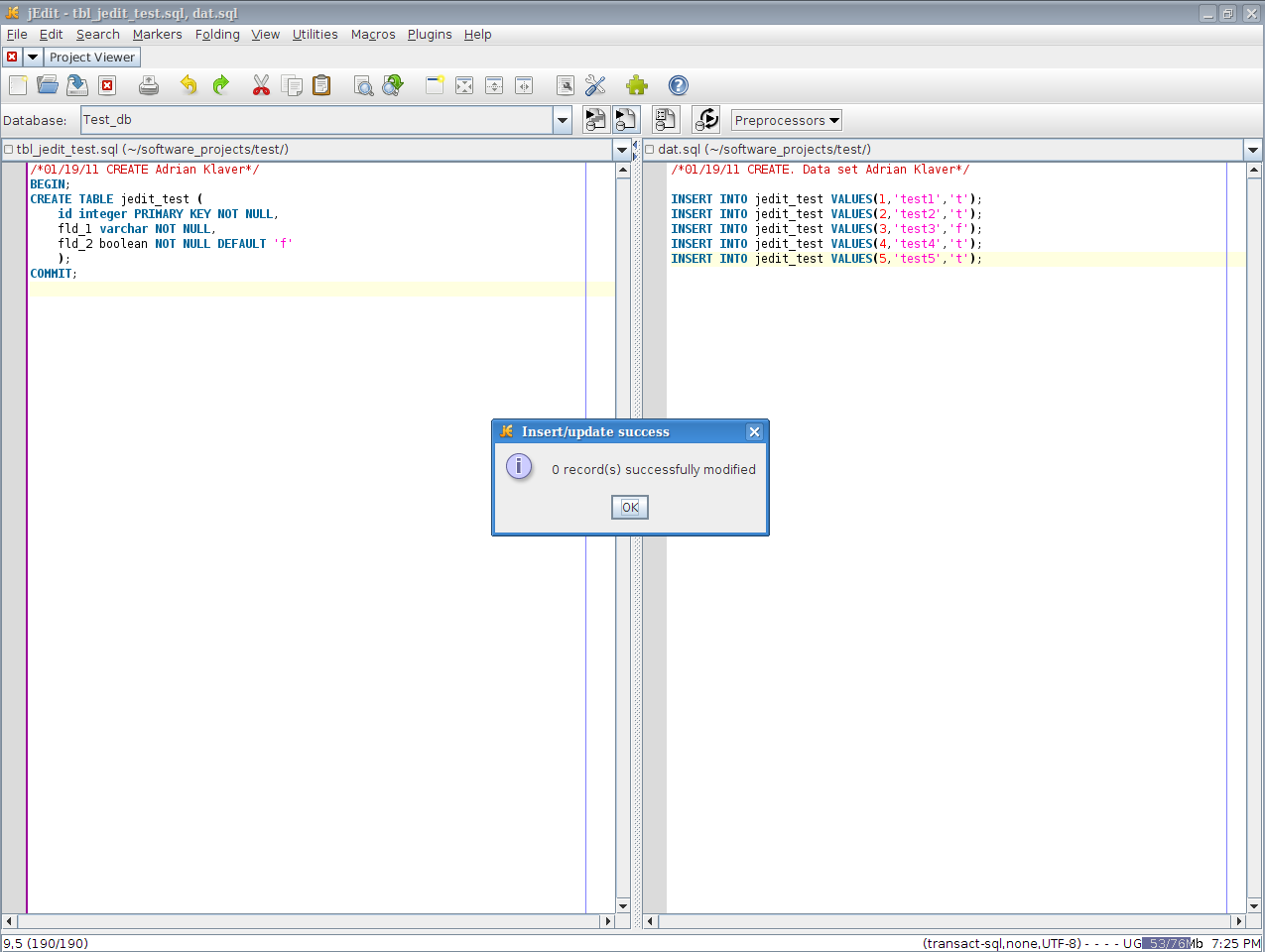 Sql inside jedit this and that for Table design sql